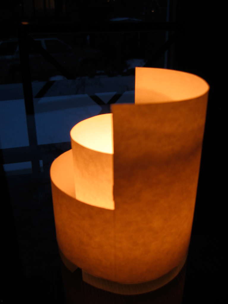Paper candle holder 2004 monchu s portfolio for Cardboard candle holders